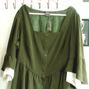 Torrid Size 4 Outlander Green Hi-Lo Dress Low-cut